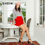 Hem Summer Women Skirts Solid Red High Waist Short Skirt Asymmetrical Layered Ruffle Skirt