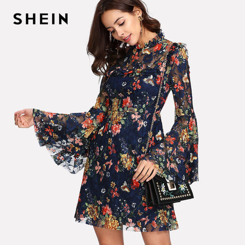 Flower Print Swing A Line Summer Dress Long Sleeve Spring Floral Calico Print Keyhole Back Bell Sleeve Dress