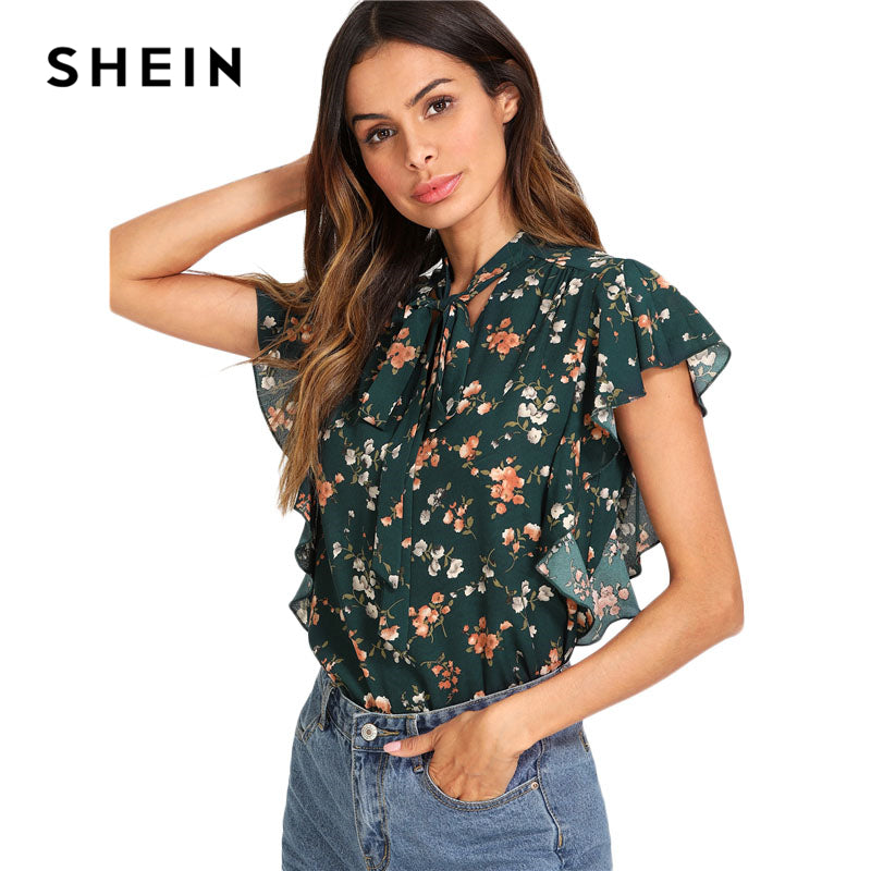 Green Tie Neck Bow Ruffle Trim Floral Top Women Stand Collar Sleeveless Casual Summer Beach Boho Blouse