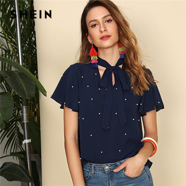 1742f242f43bd ... Navy Pearl Embellished Tie Neck Butterfly Sleeve Top Women Stand Collar  V Neck Short Sleeve Plain ...