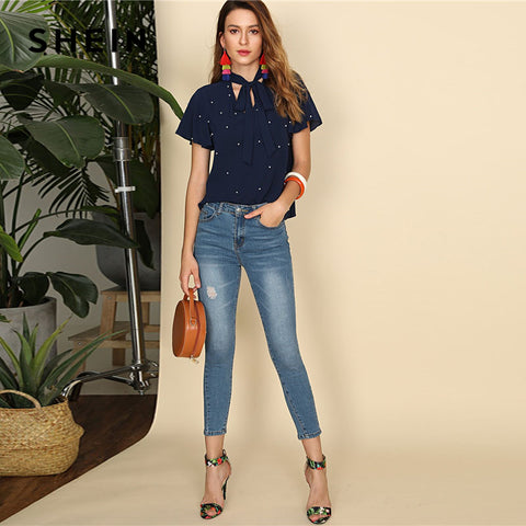 Navy Pearl Embellished Tie Neck Butterfly Sleeve Top Women Stand Collar V Neck Short Sleeve Plain Blouse