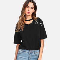 Pearl Beaded Choker Neck Tee Casual Women Summer Tops Black Short Sleeve V Neck Cut Out T Shirt