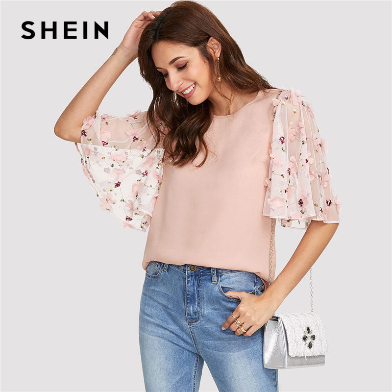 Pink Flower Applique Mesh Sleeve Top Women Round Neck Butterfly Sleeve Button Half Sleeve Blouse