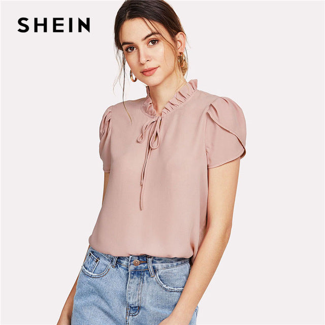 3ea15b3444cf ... Pink Tie Neck Petal Sleeve Top Women Frill Trim Stand Collar Short  Sleeve Plain Summer Work ...