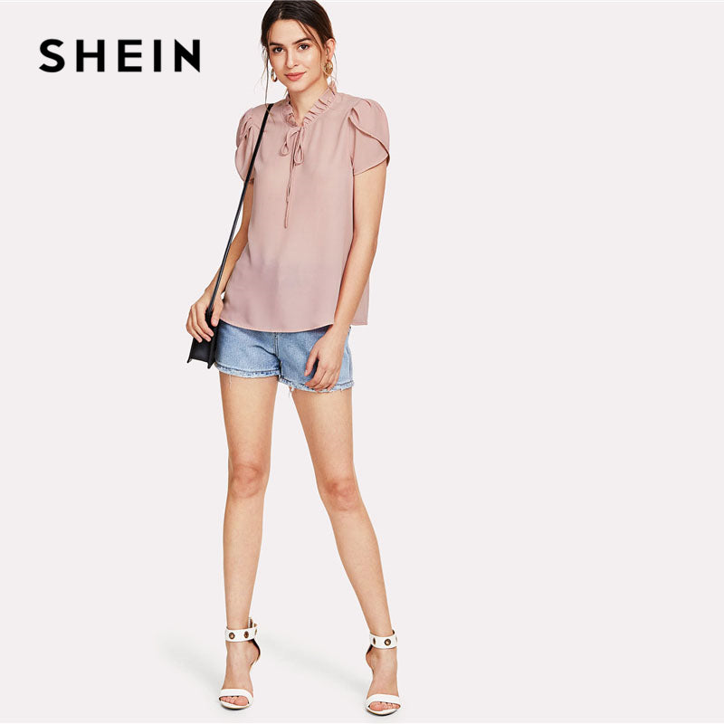 Pink Tie Neck Petal Sleeve Top Women Frill Trim Stand Collar Short Sleeve Plain Summer Work Blouse
