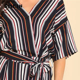 Belted Striped Wrap Jumpsuit Women V Neck Half Sleeve Casual Spring Work Jumpsuit