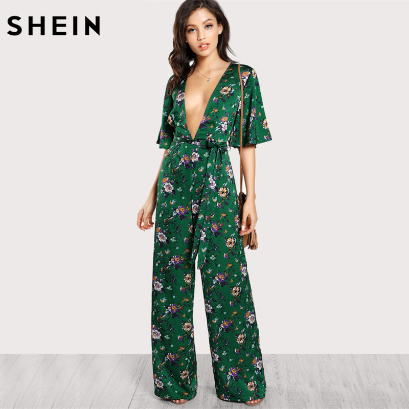 7199a8adffe ... Jumpsuits Women Bell Sleeve Plunge Neck Self Belted Palazzo Half Sleeve Floral  Jumpsuit ...