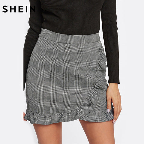 Side Plaid Print Casual Mini Skirt Black Above Knee Sporting Bodycon Summer Active Short Skirts