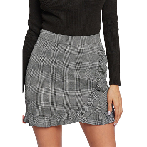 Skirts Frill Trim Plaid Wrap Skirt Grey Mid Waist Asymmetrical Sheath Skirt Ruffle Hem Casual Skirt