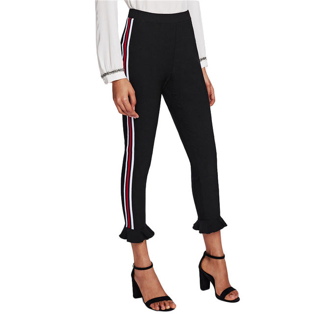 Striped Side Ruffle Hem Sporting Leggings Black High Waist Ruffle Casual Trousers Spring Active Leggings