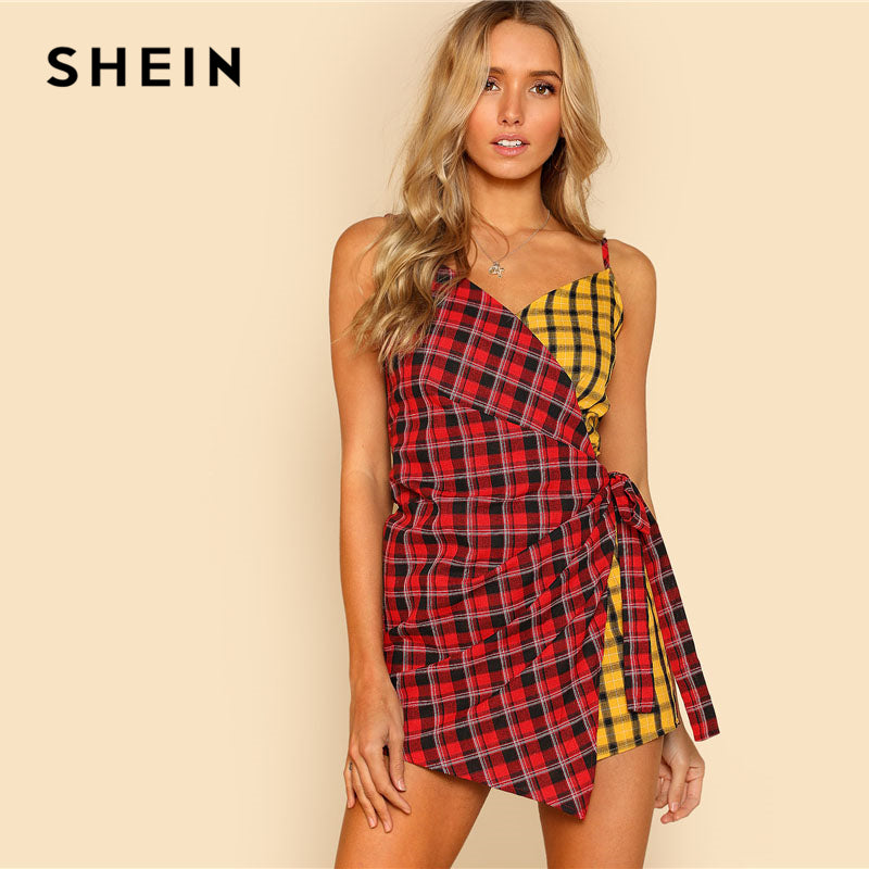 Two Tone Plaid Wrap V Neck Spaghetti Strap Sleeveless Women Checked Playsuits Casual Patchwork Cotton Romper