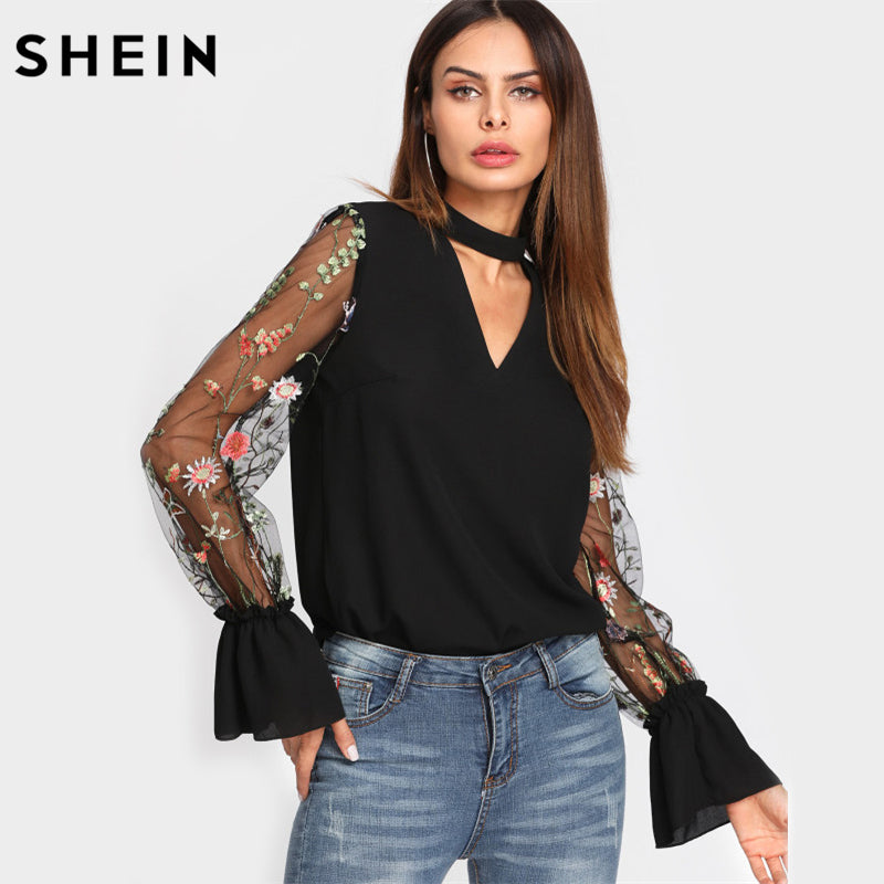 V Neck Floral Blouse Women Tops Embroidered Mesh Sleeve Choker Neck Bl – Fashion Terras