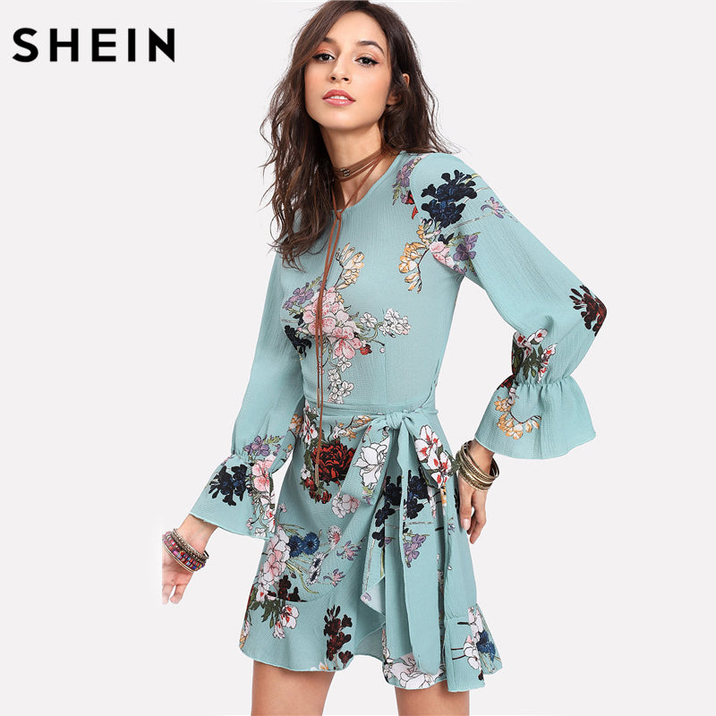 Vacation Dresses Trumpet Sleeve Ruffled Overlap Three Quarter Length Sleeve Floral Belted A Line Dress