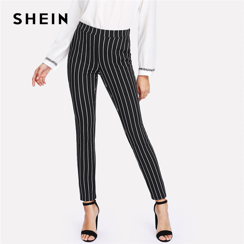 Vertical Striped Skinny Pants Women Elastic Waist Pocket Style Work Trousers Spring Mid Waist Long Pencil Pants