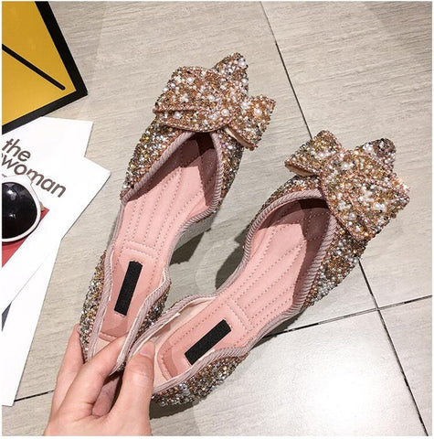 Women Flats Pointed Toe Pearl Shoes Spring Summer Sandals Slip On Casual Sweet Knot Sequined Shallow Loafers