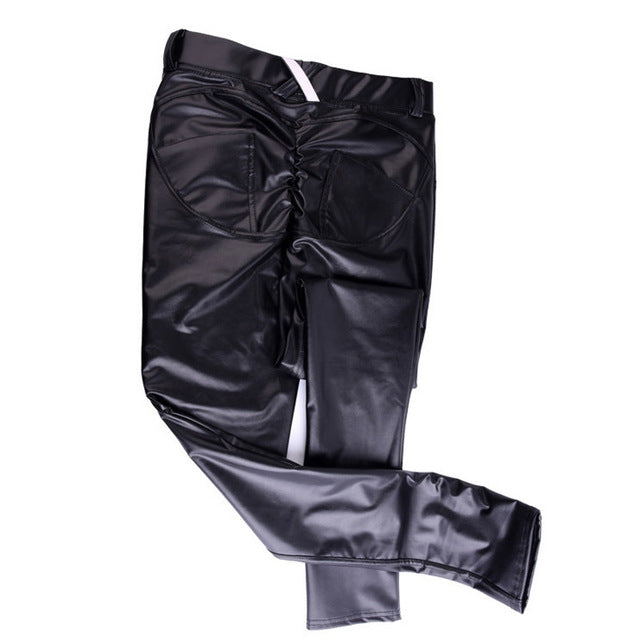 Women Hip Push Up Pants Low Waist PU Leather Legging Gothic Leggings