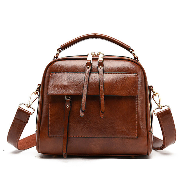 Large Capacity Soft Leather Handbags Women Bags Designer Vintage Casual Tote Bag