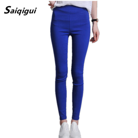 High Waist Leggings Women Plus Size Solid Elastic Casual Slim Fitness Pencil Pants
