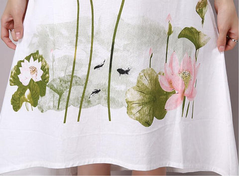 Summer Dress Short Sleeve White Women Casual Cotton Linen Dress Lotus Printing O-Neck Vestidos