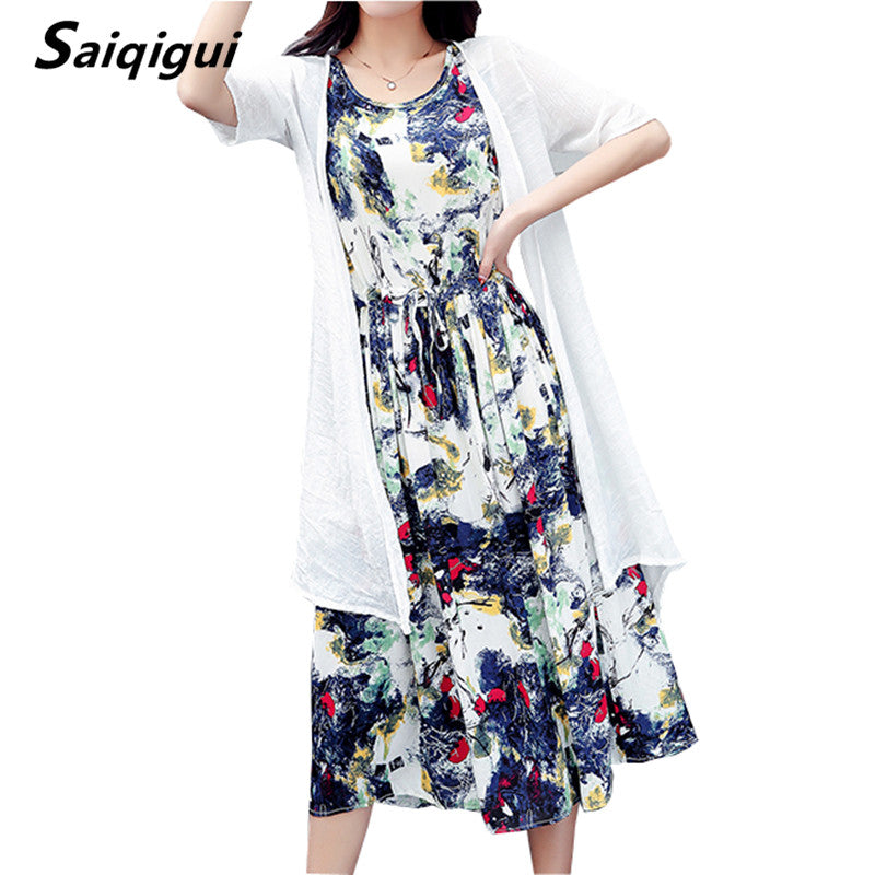 Summer Dress Casual Loose Two Piece Cotton Line Dress Print o-neck Plus Size
