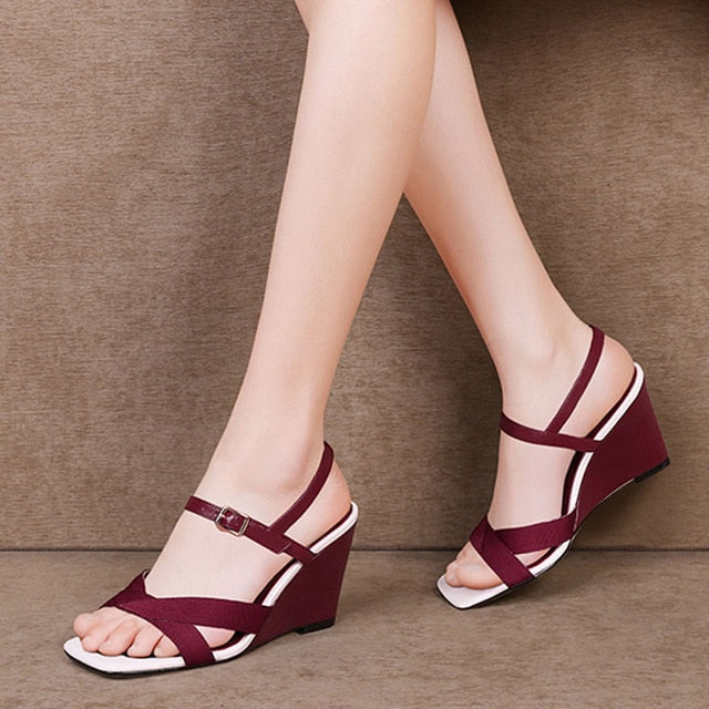 Women Summer Shoes Wedges Summer Footwear Open Toe Wedges Shoes Sandals