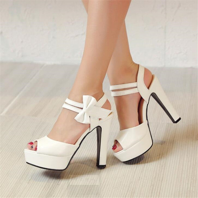 Sandals Women Summer High-heeled Fish Mouth Shoes Bow Rough Waterproof Roman Shoes