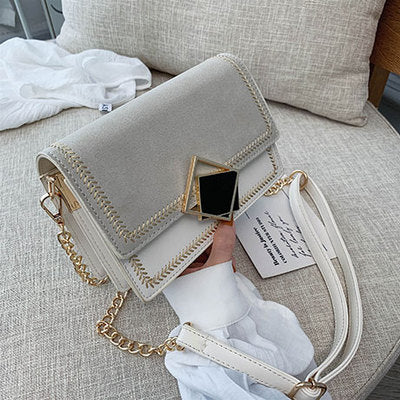 Scrub Leather Small Crossbody Bag Women Chain Shoulder Travel Handbags Purses Evening Bags