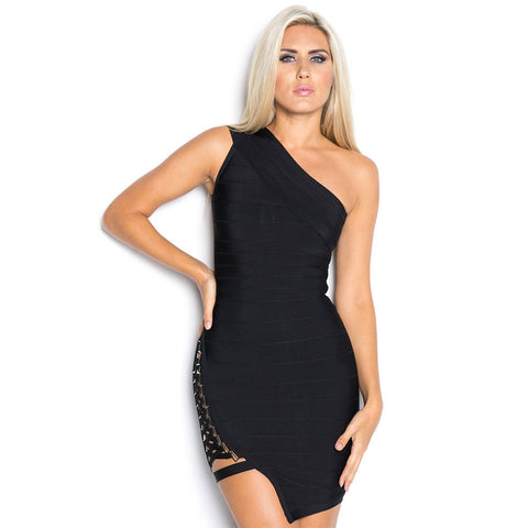 Celebrity Party Dresses Women One Shoulder Sequined Spring Sleeveless Bodycon Bandage Dress