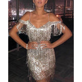 Sequin Tassel Dress Women Sparkly Cold Shoulder Backless Bodycon Mini Dresses Glitter Short Party Club Dress