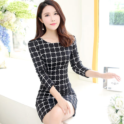 e152bf3d3a5 ... Long Sleeve Plaid Casual Dress Women O-Neck Black White Summer Mini  Dress Plus Size ...