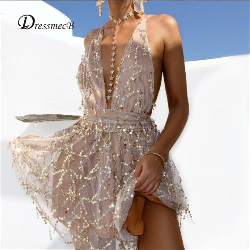 Jumpsuits Women Gold Sequin Deep V-neck Sleeveless Catsuit Jumpsuit Tassels Full Bodysuit Overalls