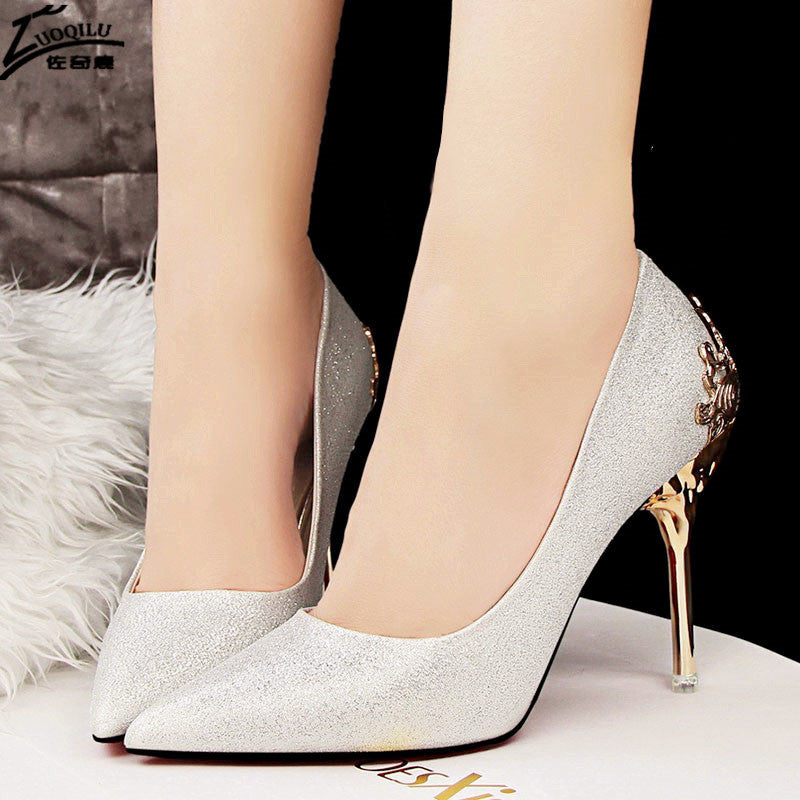 01e925fff03 ... High Heels Shoes Women Pumps Red Gold Silver High Heels Shoes Wedding  Party Shoes ...