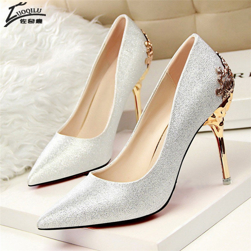 cb8099315b96 ... High Heels Shoes Women Pumps Red Gold Silver High Heels Shoes Wedding  Party Shoes ...