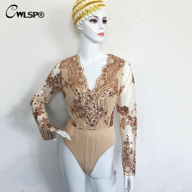 Lace Embroidery Women Gold Sequined Deep V-Neck Bodysuits Long Sleeve Skinny Jumpsuits
