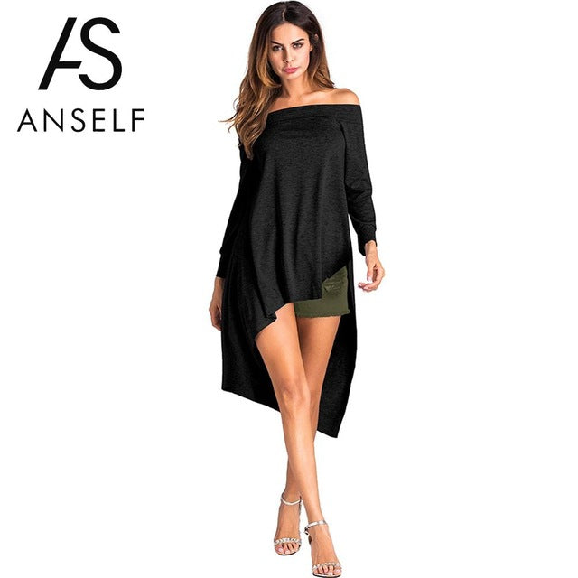 Off Shoulder T Shirt Women Asymmetric T-Shirt Slash Neck Solid Long Sleeve Tunic Tops Summer Black/Grey/White