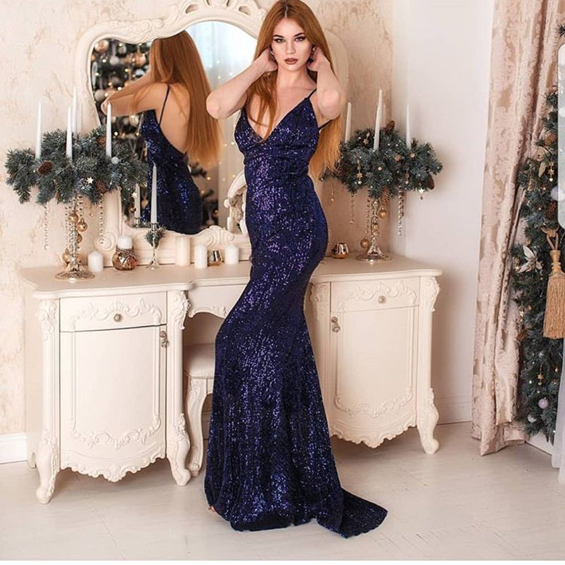 1be60a0e5a87a Silver Sequined Maxi Party Dress Stretch Floor Length Navy Sequin Backless  Padded Bodycon V Neck Full Lining Black Dress