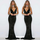 Silver Sequined Maxi Party Dress Stretch Floor Length Navy Sequin Backless Padded Bodycon V Neck Full Lining Black Dress