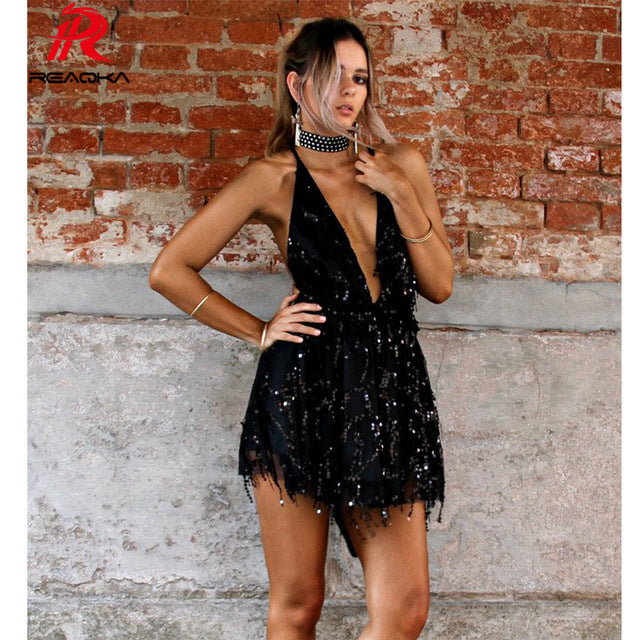 4a2dfc4b99d9 ... Women Mini Sequins Summer Dress Hot V Neck Backless Black Gold Halter  Party Clubwear Beach Bandage ...