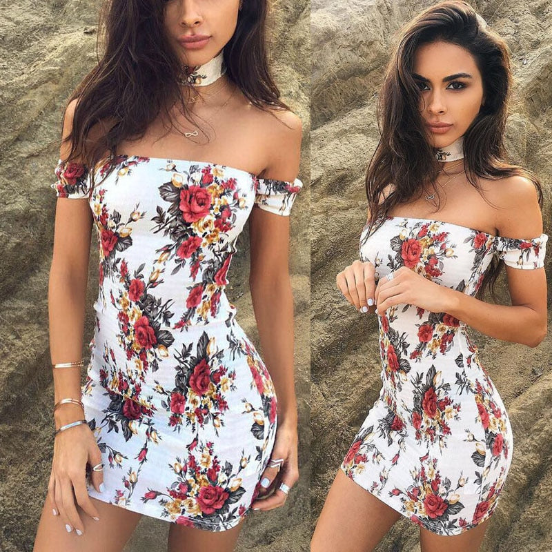 Women Raglan Sleeve Bodycon Casual Party Mini Club Dress Floral Dresses