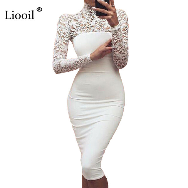 0ecceb6711c9 ... Women White Lace Dress Winter Turtleneck Long Sleeve Red Black Club  Bodycon Bandage Midi Party Dresses ...