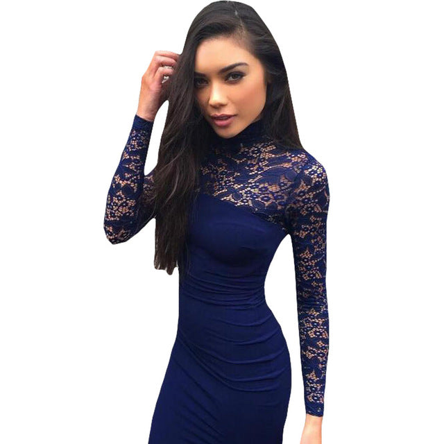 Women White Lace Dress Winter Turtleneck Long Sleeve Red Black Club Bodycon Bandage Midi Party Dresses