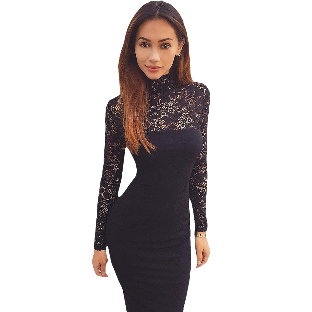 c21eb5d7693f ... Women White Lace Dress Winter Turtleneck Long Sleeve Red Black Club  Bodycon Bandage Midi Party Dresses ...