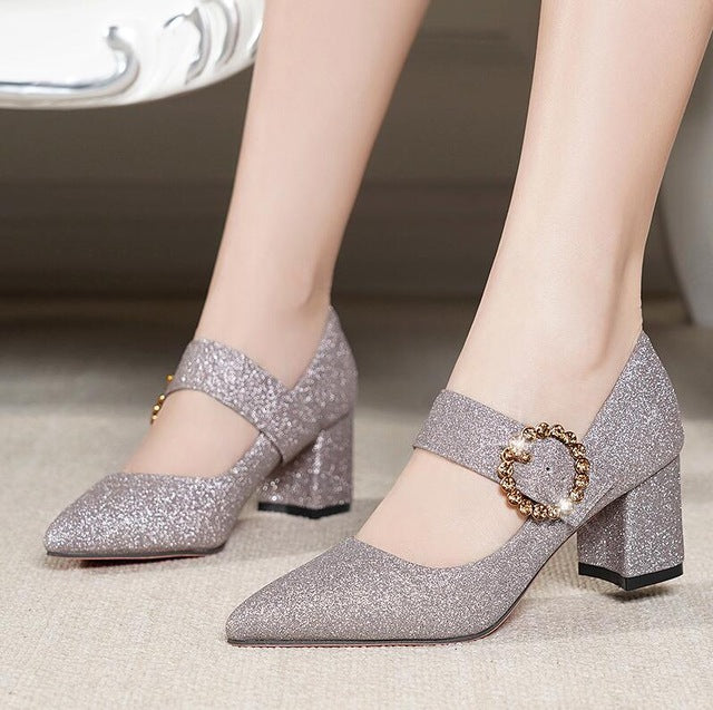 Women Pumps High Heels Shoes Classics Casual Pointed Toe Platform Square Heel Office Shoes