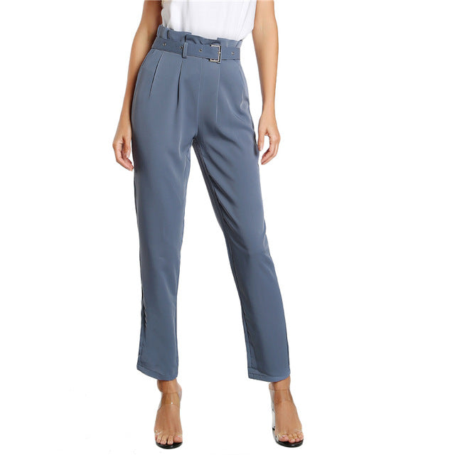 a71cbbe23266a ... High Waist Style Pants Blue Pleated Tailored Pants Buckle Belt Zipper  Elegant Work Trousers ...