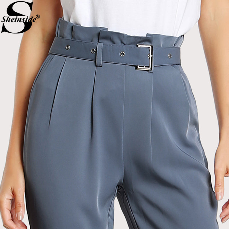 8b1f1e66d7993 High Waist Style Pants Blue Pleated Tailored Pants Buckle Belt Zipper  Elegant Work Trousers ...