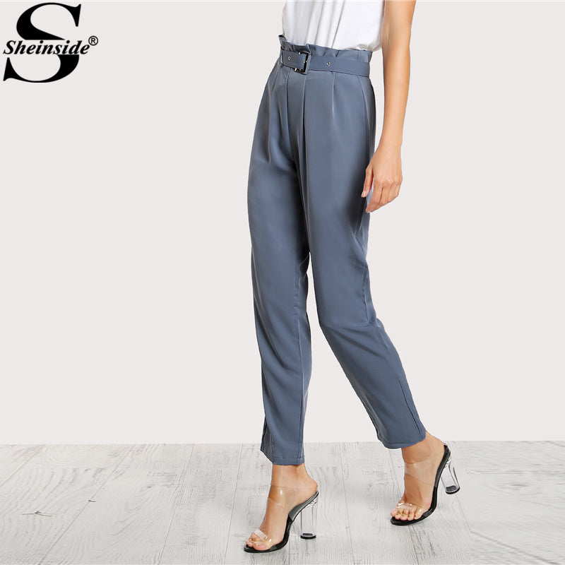 High Waist Style Pants Blue Pleated Tailored Pants Buckle Belt Zipper Elegant Work Trousers