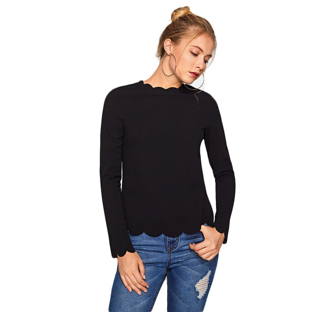 Crew Neck Scallop Trim Fitted Tee Women Black Long Sleeve T Shirt Autumn Casual Basic T-shirt