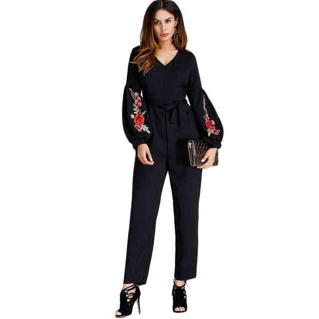 Lantern Sleeve Embroidered Rose Applique Jumpsuit Women V Neck Long Sleeve Work Jumpsuit