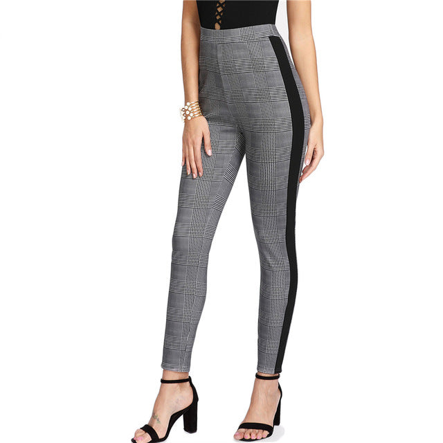 Contrast Tape Side Plaid Pencil Pants Mid Waist Skinny Long Spring Women Work Pants