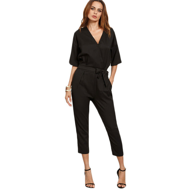 Solid Surplice Front Self Tie Jumpsuits Women Work Wear Half Sleeve Tw Fashion Terras